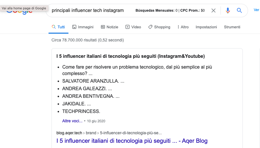 influencer marketing su Google